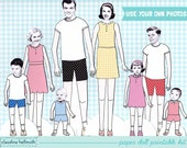 FULL FAMILY SET paper dolls - easy for you to customize with your own photos - printable pdf - instant download