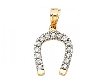 14K Solid Yellow Gold Cubic Zirconia Horseshoe Pendant - Good Luck Necklace Charm