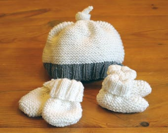 Easy Knitting Pattern: baby hat, booties & mittens / Baby knitting pattern pdf download / Beginner knitting pattern / Baby shower gift /