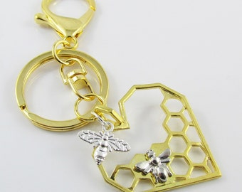GP Honeycomb Heart Bee Charm Keychain Keyring 105mm (C2557/C952/KCF011)