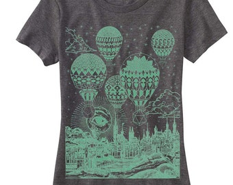 Women's GRAVITATION T-Shirt Psychedelic Hot Air Balloons Sacred Geometry Pattern Tee