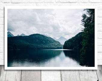 Blue Lake Print, Lake Printable Wall Art, Nature Printable Photo Download, Digital Print, Mountain Lake Photo Print, German Alps Bavaria