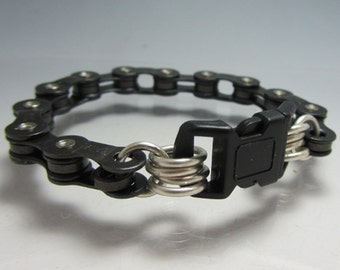 Bicycle Chain Bracelet with Buckle Closure