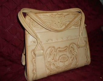 Vintage Tooled Leather Handbag/Large Tooled Leather Mexican Purse