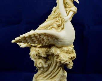 Aphrodite on swan Venus sculpture Goddess of love aged statue