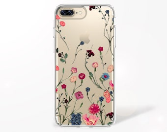 Boho Flower Clear iPhone Case, iPhone 7 Case, iPhone 8 Case, Peony iPhone X Case, Floral iPhone 7 PLUS Case, iPhone 8 PLUS Case, Samsung S8