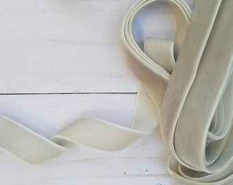 5/8 Light Silver Velvet NON ELASTIC Ribbon