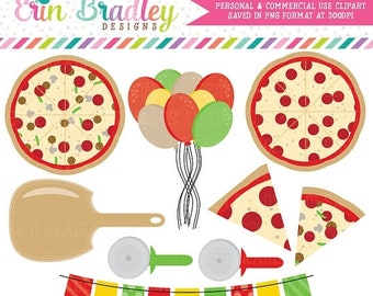 80% OFF SALE Pizza Party Clipart Commercial Use Clip Art Graphics Instant Download