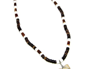 Fossil Shark Tooth Surfer Necklace 4-5mm Puka Shell, Coconut, and Bamboo Beads 7026M