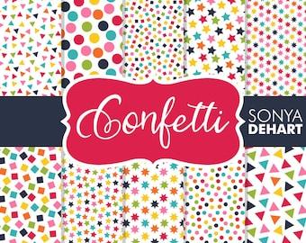 Confetti Digital Papers | digital paper, confetti, confetti paper, confetti digital, scrapbook paper, confetti background, digital confetti