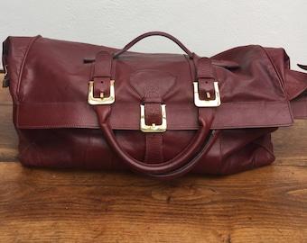 Duffle BAG | Weekend Leather Bag Made in Italy | Burgundians Weekend Bag | Carryall | Vintage Duffle Bag | Fashion duffle