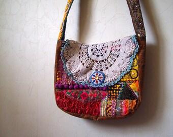 SALE 30% off Vintage Bohemian Hippie Patchwork Doily Lace Shoulder Bag