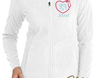 Monogram Stethoscope Fleece Jacket - Nurse Fleece Full Zip Jacket - RN Monogram Apparel - Grey Jacket - Plus Size Jacket