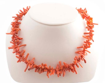 Coral Branch 14K Clasp Necklace