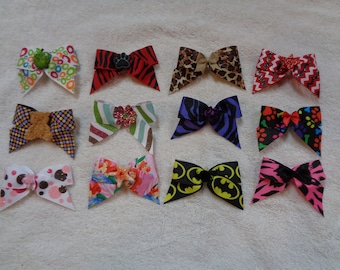 Dog Grooming Bows BIG DOG lot set 12 XXL size for bigger dogs (medium - large) style color variety handmade pet accessories