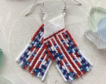 Patriotic Fringe Beaded Earrings