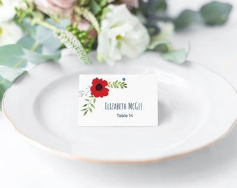 Printable - Tent Cards - Various Fonts Included - Patriotic Poppies - Place Cards