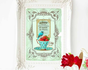 Bird print, bird in a teacup, French art print, vintage style, kitchen print, A4 giclee