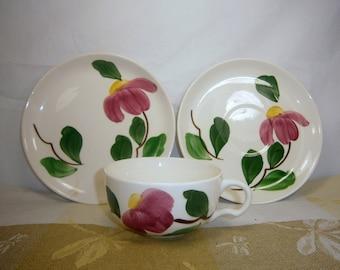 La poterie Stetson / Rio / Chine Stetson / vaisselle / remplacement / 3 pièces / tasse, soucoupe, Desser plaque / 1940 / Made in USA / peint à la main
