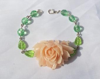 Botanical Jewelry Bracelet - Rose Flower Floral - Peridot Green Pink Peach Corsage
