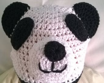 Crocheted panda hat in merino wool