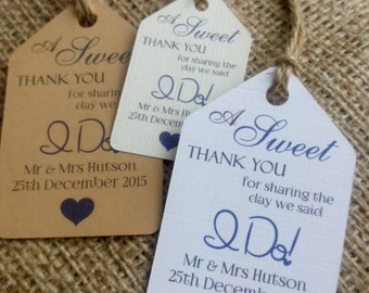 "10 Personalised Wedding Favour Gift Tags ""Sweet Thank You"" Guest Label"