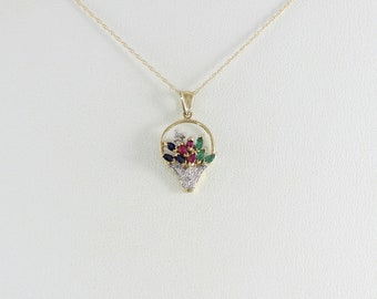 10K Yellow Gold Sapphire, Emerald, Ruby and Diamond Flower Basket Necklace with 18 inch Chain