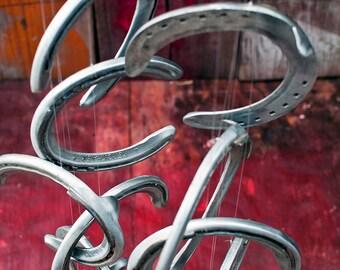 Racehorse Aluminum Horseshoes Wind Chime 13 Shoes