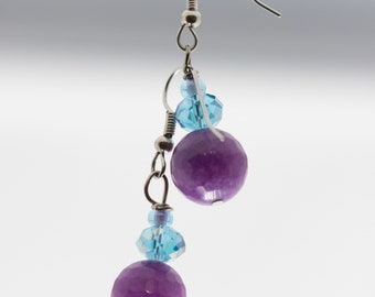 Purple and Light Blue Earrings