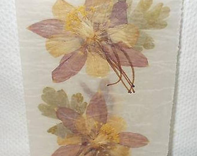 Vintage 90s Pressed Flower Art Green Pink Yellow Fuchsias Handmade Unused Vellum Greeting Card