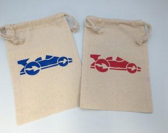 Race Car Party Favor Bags with Race Car Designs - Muslin Bags With Racing Car Designs, Transport Party Supplies