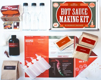 Make Your Own Hot Sauce Kit, Makes 7 Bottles of DIY Hot Sauce, (100% Heirloom Habanero, Ancho, Ghost and Chipotle Peppers) Gift Box