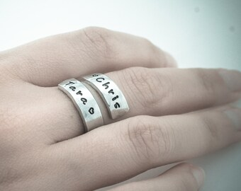 Personalized Wrap Ring - Hand Stamped Aluminum