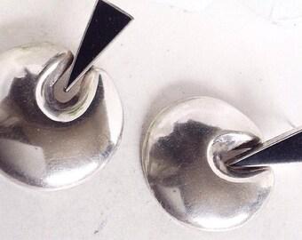 Sterling Silver Drop Earrings, Silver Earrings, Onyx Earrings, Dangle Earrings, Round  Silver Earring, Drop Earrings, Vintage Earrings.