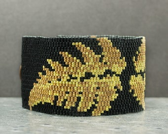 Beaded Bracelet | Cuff Bracelet | Gold, Black | Botanical Jewelry | Peyote Bracelet | Beaded Jewelry | Seed Bead Jewelry | Gift for Her