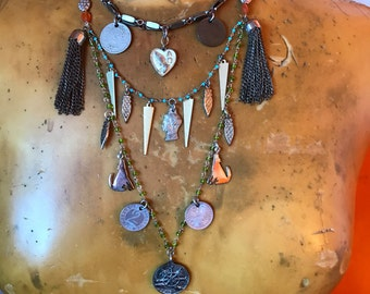 Layered Necklace- Coin Jewelry- Bohemian Chic- One of A Kind Gift- Festival Accessories- Assemblage Jewelry- Vintage Charm Necklace