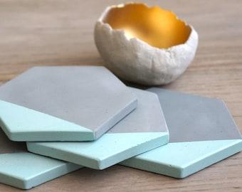 Grey Concrete Blue Painted Hexagon Coasters. Set of 6. Set of 4. Set of 2