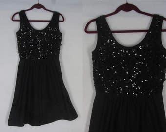 70s LBD Little Black Dress M Mary Martin Florida Sequin Bodice Jersey Knit Sleeveless