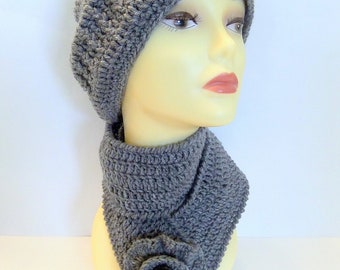 Crochet Hat and Scarf Set, Textured Beanie Hat, Flower Scarf, Winter Beanie Hat Set, Grey hat and scarf