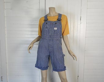 60s Engineer Overalls Shorts- 19§0s Vintage  Hippie Cut Offs- Blue & White Striped Denim- Small- Embroidered- Big Mac- Hippie Festival Boho