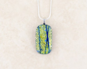 Yellow and blue dichroic pendant, handmade fused glass pendant, sparkly pendant necklace