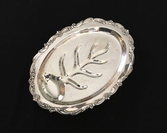 Towle Silverplate Footed Meat Tray With Tree of Life Well
