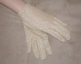 Vintage Gold Lurex wrist length Gloves