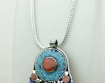 Simple Design! Turquoise Coral Native Tribal Ethnic Vintage Nepal Tibetan Jewelry OXIDIZED Silver Pendant + Chain P4370