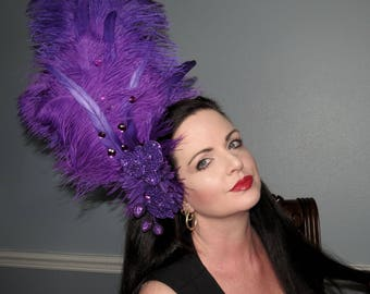 Purple Passion Can Can Style Headdress  Hair Adornment