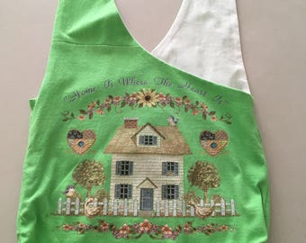 "Handmade Upcycled Green ""Home Is Where The Heart Is"" Hobo Shoulder Purse"
