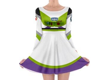 Buzz Lightyear Toy Story Inspired Long Sleeve Skater Dress