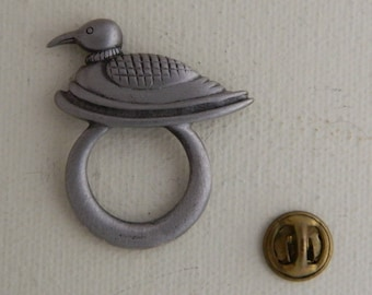 Vintage Pewter Loon Pin Unique Hoop Tie Tack Hat Tack Duck Lapel Pin Push Pin Waterfowl