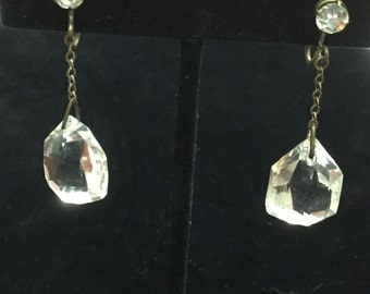 Vintage Faceted Crystal Non-Pierced Dangle Earrings