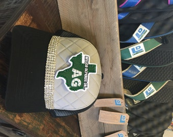 Black & Gray Quilted Hat- Bling- Texas Patch- My Job Depends On AG- Landfill Dzine